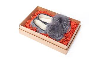 Slippers from sheepskin with fox fur pompom