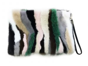 Hand bag from mink fur (colourful)