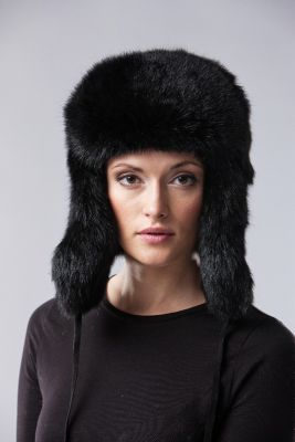 "Hat ""Ushanka"" rabbit black"
