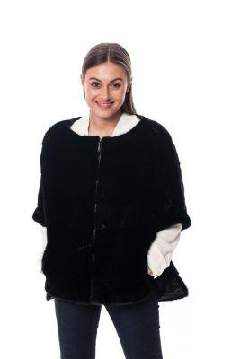 Mink fur poncho black