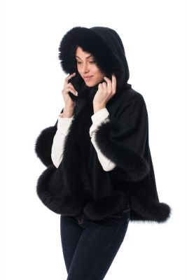 Wool and cashmere poncho with hoodie black
