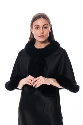 Wool and cashmere poncho black with black fox fur (short version)