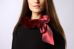 Collar from mink Burgundy