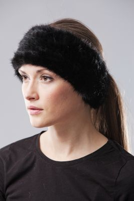 Knitted mink band black