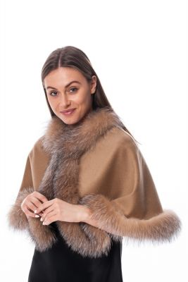 Wool and cashmere poncho beige with golden blue silver fox fur (short version)