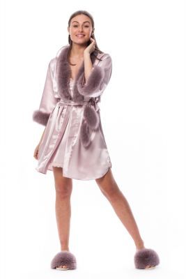 Satin robe and slippers with fox fur decor in pink