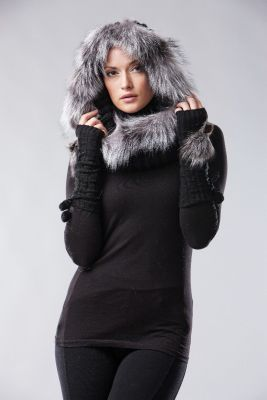 Wool hate black blue silver fur