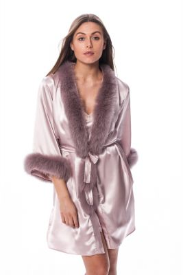 Satin robe with  fox fur decor  in pink