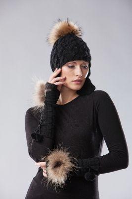 Wool wristlets long black with raccoon fur