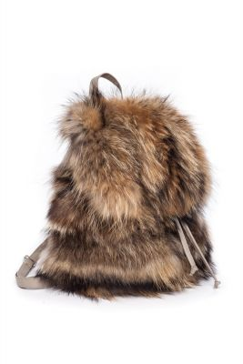 Backpack from raccoon fur