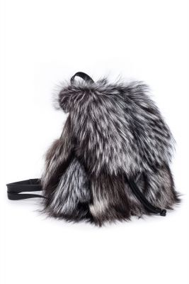 Fox fur backpack in blue silver