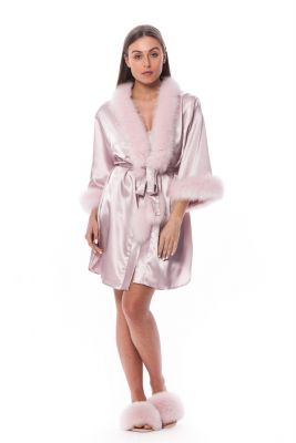 Satin robe and slippers with fox fur decor pink