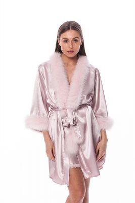 Satin robe with fox fur decor  pink