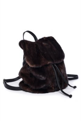 Backpack from mink fur (brown)