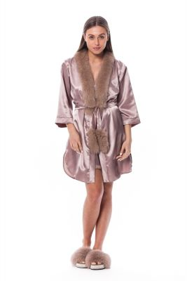 Satin robe and slippers with fox fur decor in brown