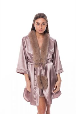 Satin robe with fox fur decor in brown