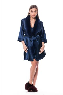 Satin robe and slippers with fox fur decor in blue
