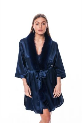 Satin robe with fox fur decor in blue
