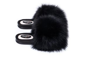 Slippers with fox fur in black colour (NEW)