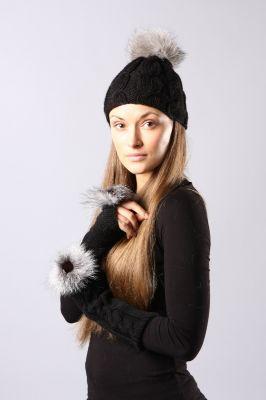 Wool wristlets long black with blue silver fur