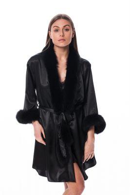 Satin robe with fox fur decor in black