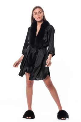 Satin robe and slippers with fox fur decor in black