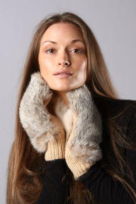 Wool mittens with rabbit beige