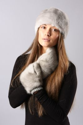 Wool mittens with mink natural Sapphire