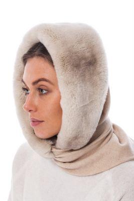 REX fur hood chinchilla in beige