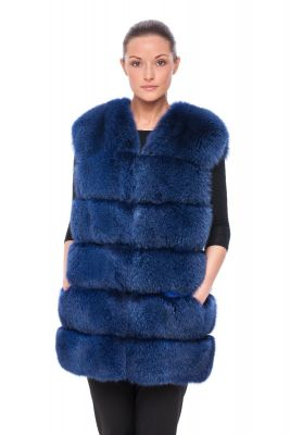 Long Vest of blue fox