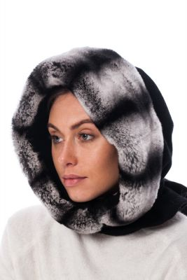 REX fur hood chinchilla in grey