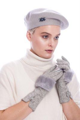 Wool gloves with grey mink fur