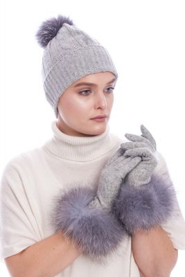 Wool gloves with blue silver fox fur