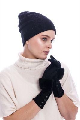 Wool gloves with  black mink fur
