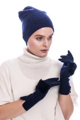 Wool gloves with blue mink fur