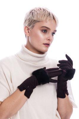 Wool gloves with brown mink fur