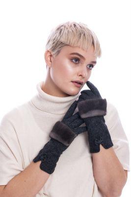 Wool gloves with dark grey mink fur