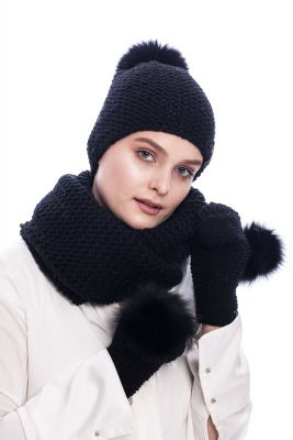 Knitted black wool set