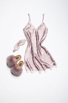 Set of night dress, slippers and sleeping mask eyes bandage brown colour