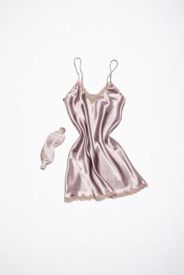 Set of night dress and sleeping mask eyes bandage (brown/dusty rose)