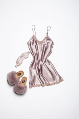 Set of night dress, slippers and sleeping mask eyes bandage in dusty rose