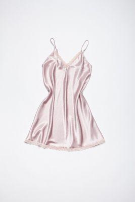 Satin night dress in pink