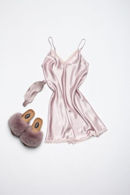 Set of night dress, slippers and sleeping mask eyes bandage in pink