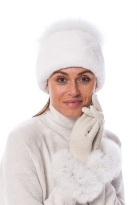 Wool gloves with white fox fur
