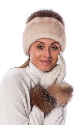 Wool gloves with golden blue silver fox fur