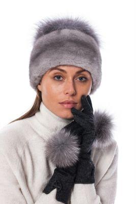 Wool gloves dark grey with blue silver fox pompoms
