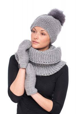 Wool hood/snood grey