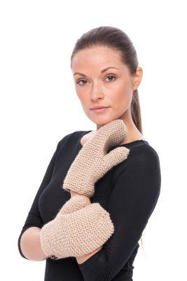 Woolen mittens (beige)