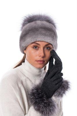 Wool gloves dark grey with blue silver fox fur