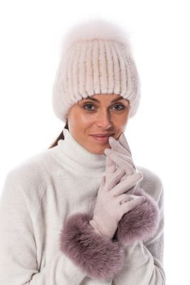 Wool gloves with dusty rose fox fur